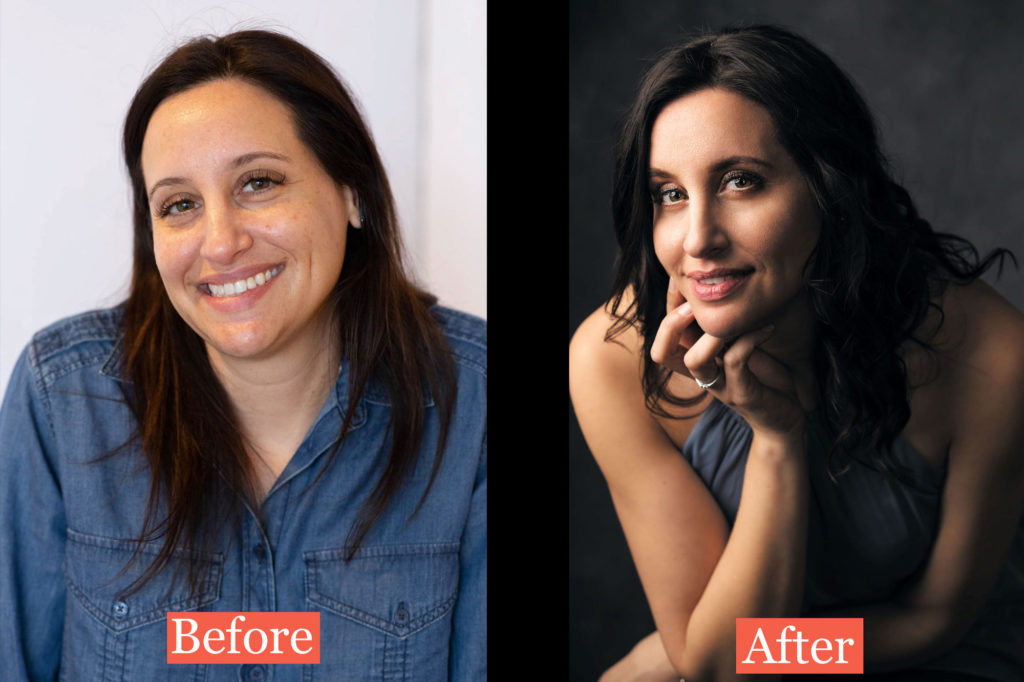 Before and after photos from Christina's portrait photo shoot