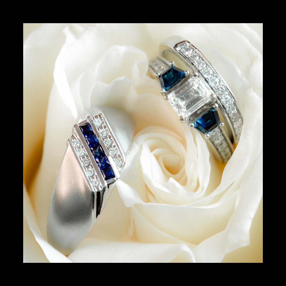 Wedding Rings in white rose