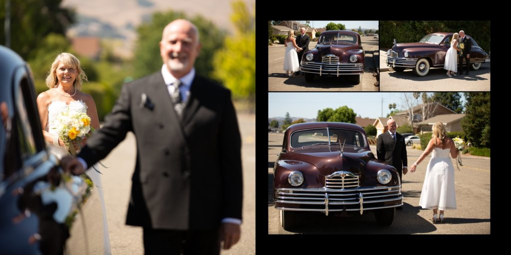 Older bride and groom first look with old car