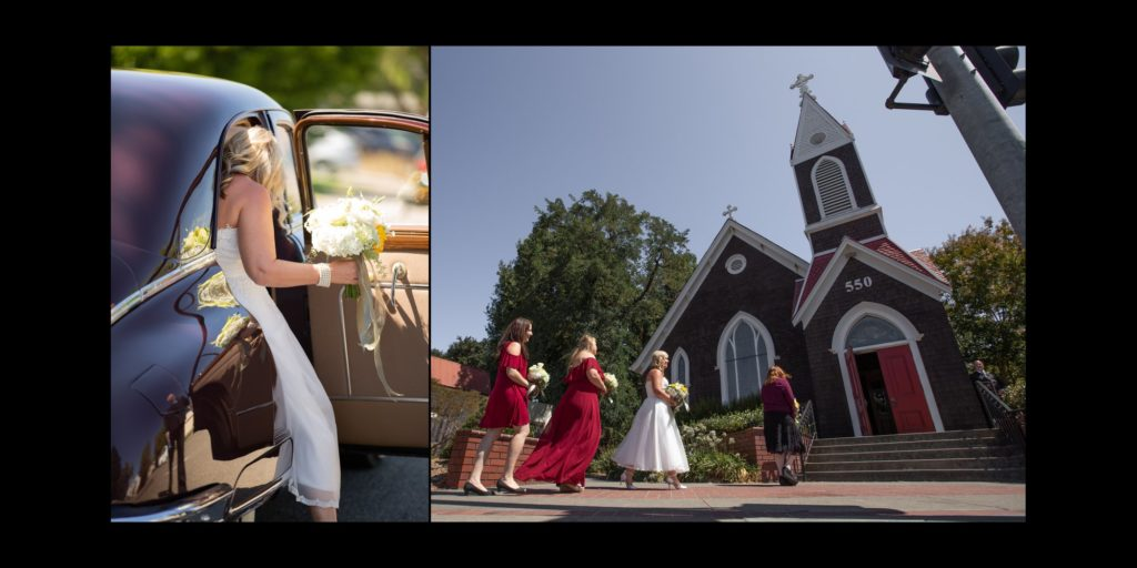 Bride get's to chapel