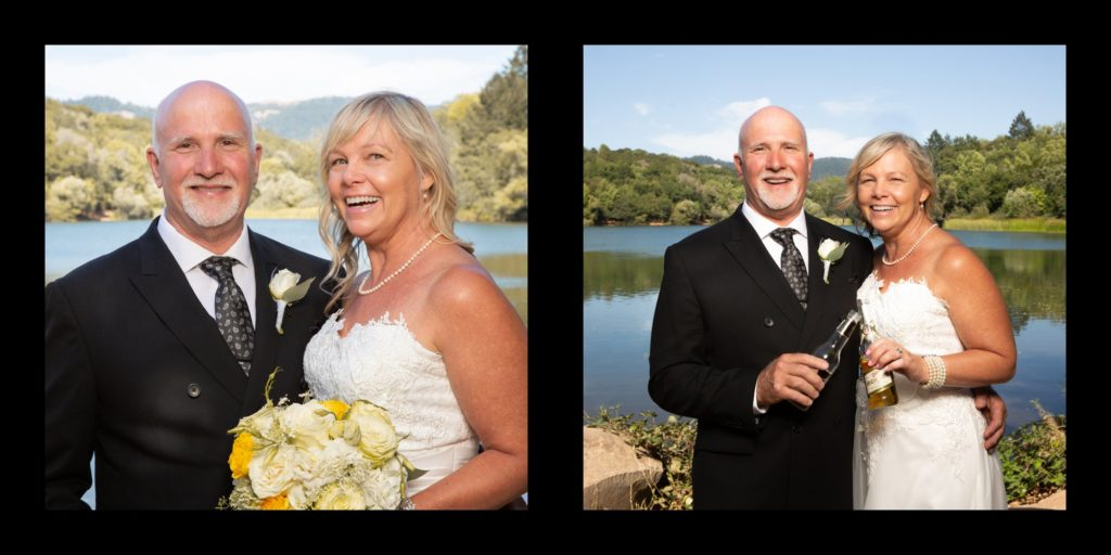 Bride and groom at Lake Ralfine