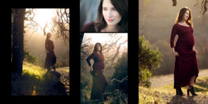 Attractive pregnant woman in red dress at sunset in an oak forest