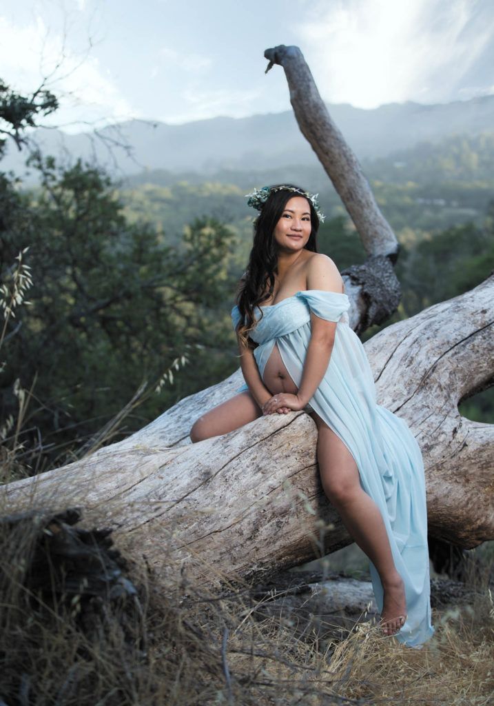 outdoor enviornmental maternity portrait of a woman sitting on a log in a blue dress overlooking the Sonoma Valley
