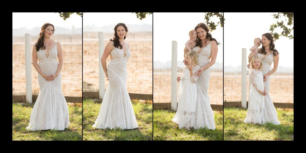 Bridal portraits with two young kids all wearing white dresses.