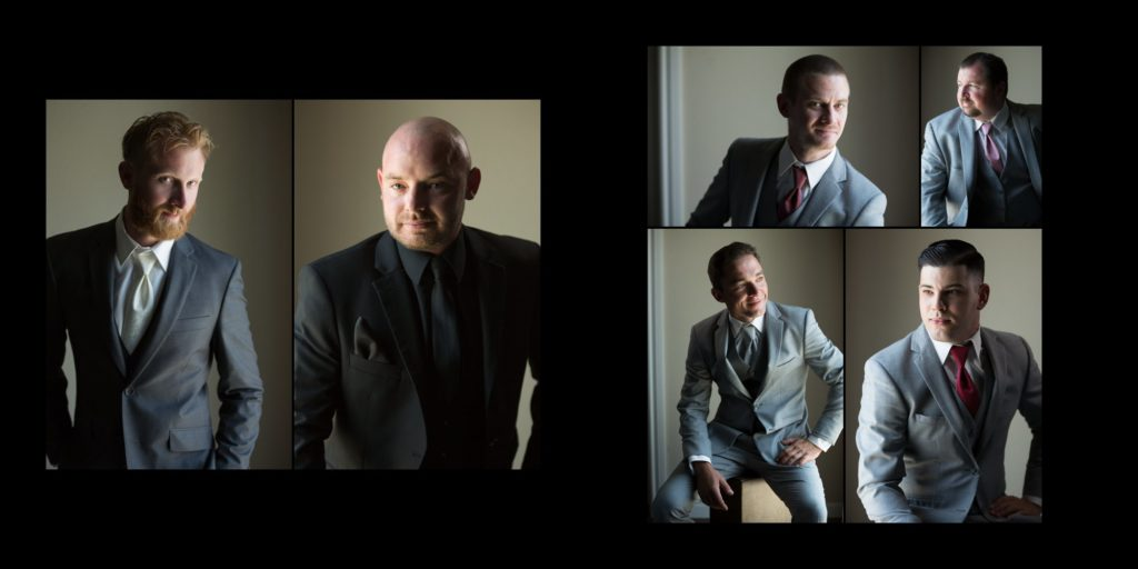 Individual portraits of all of the groommen of the wedding party