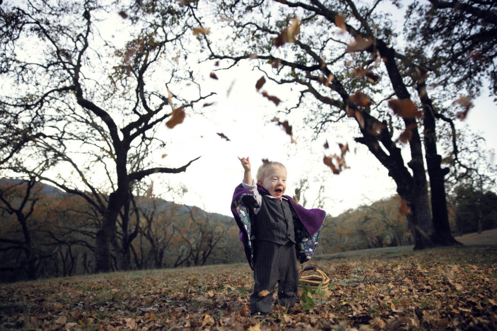 childrens portrait of a toddler wearing a cape in a bay area forest in the winter with leaves falling around him