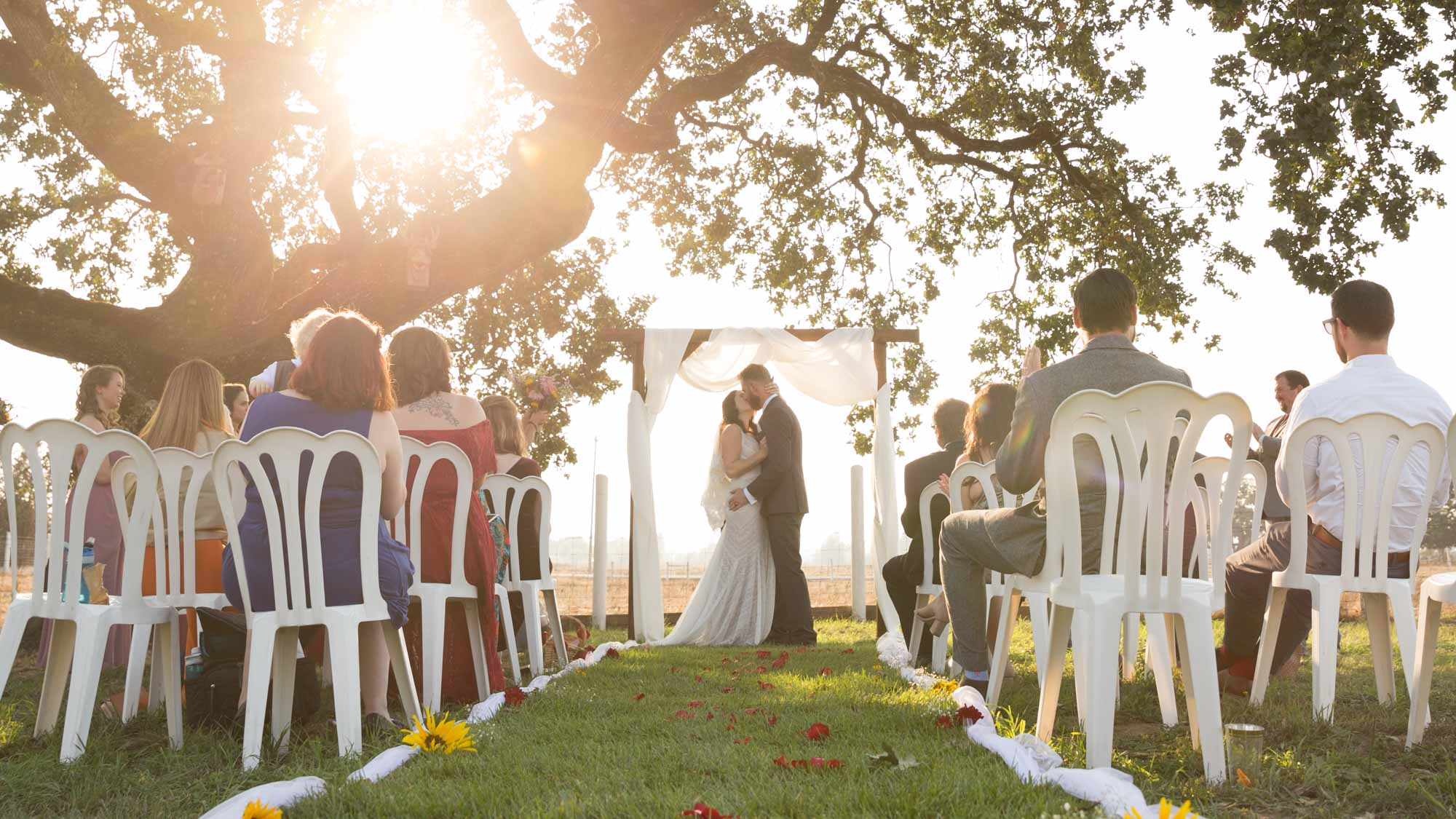 Couples kisses under an oak tree at sunset in a backyard wedding ceremony sonoma county