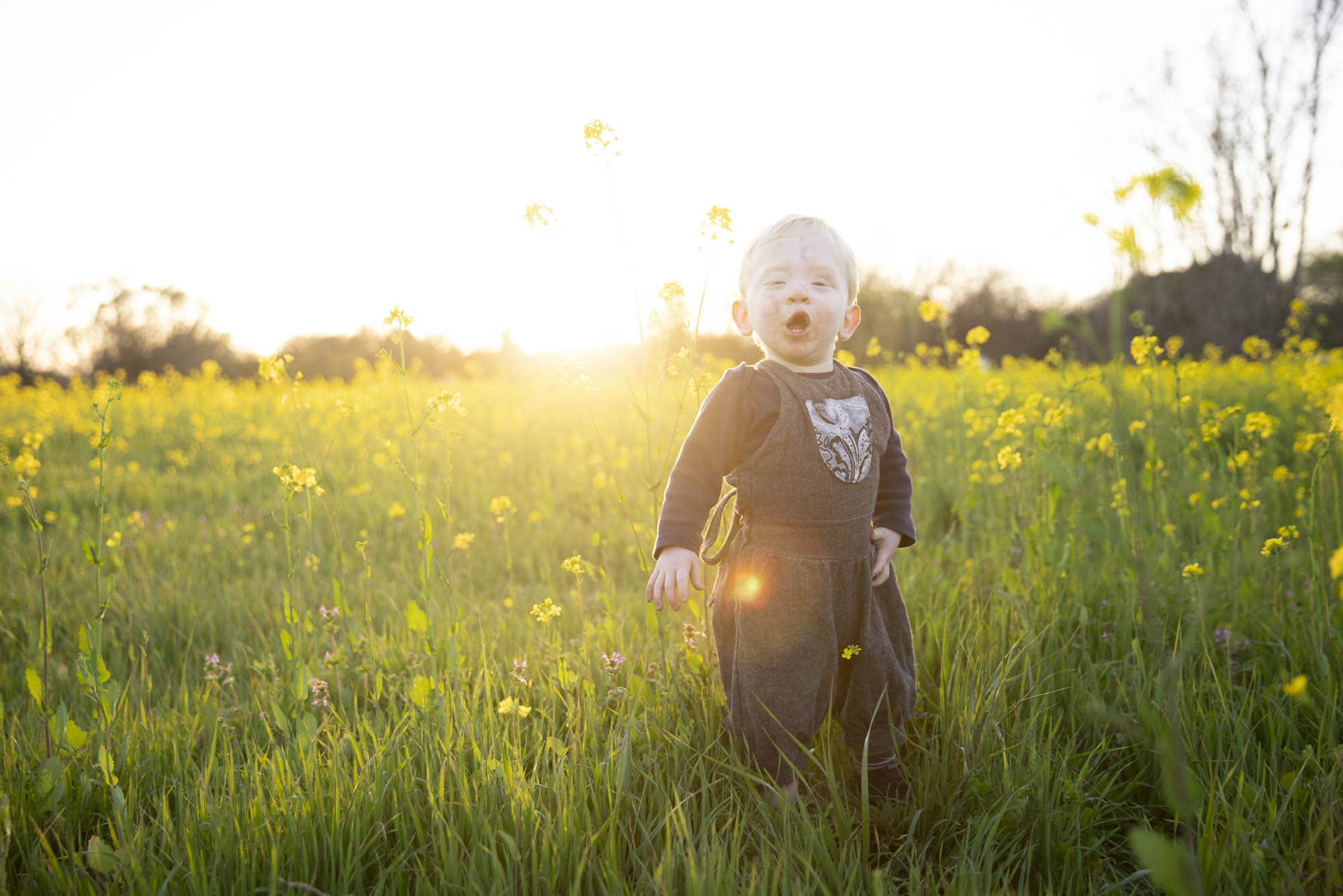 Portrait of a child in a field of wild mustard