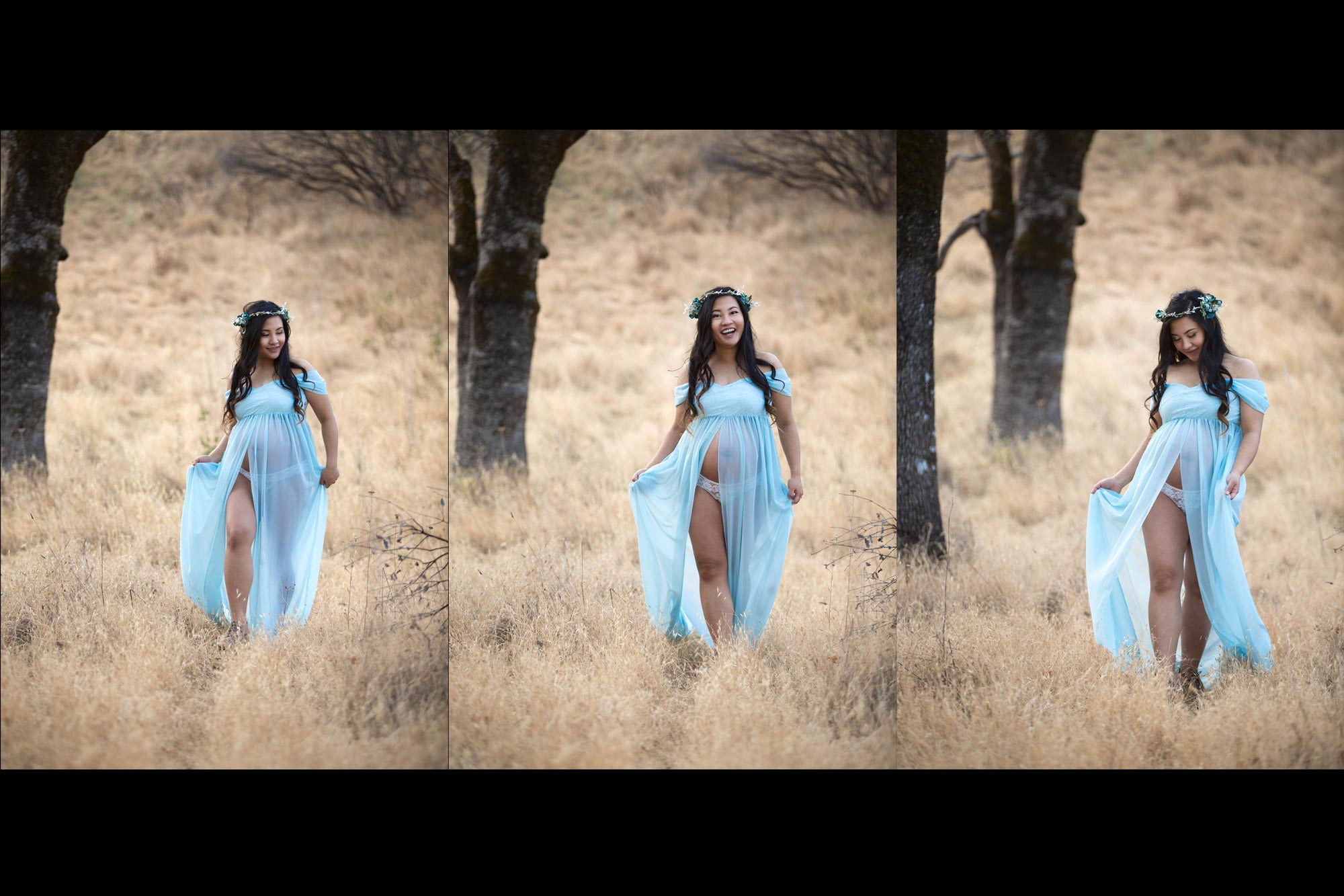 Maternity portraits of woman in blue dress walking in a sonoma California field