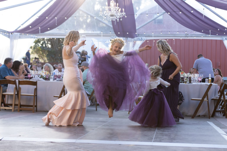 Little girls and adults dancing at a wedding reception.
