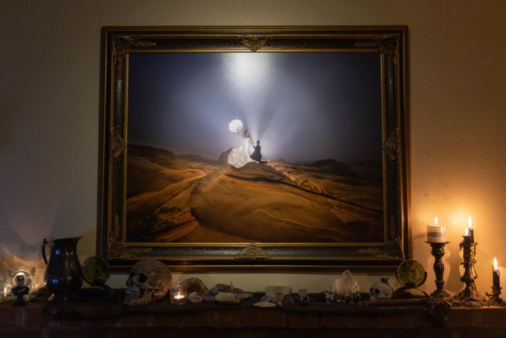 luster print lit by honwell battery powered led spotlight