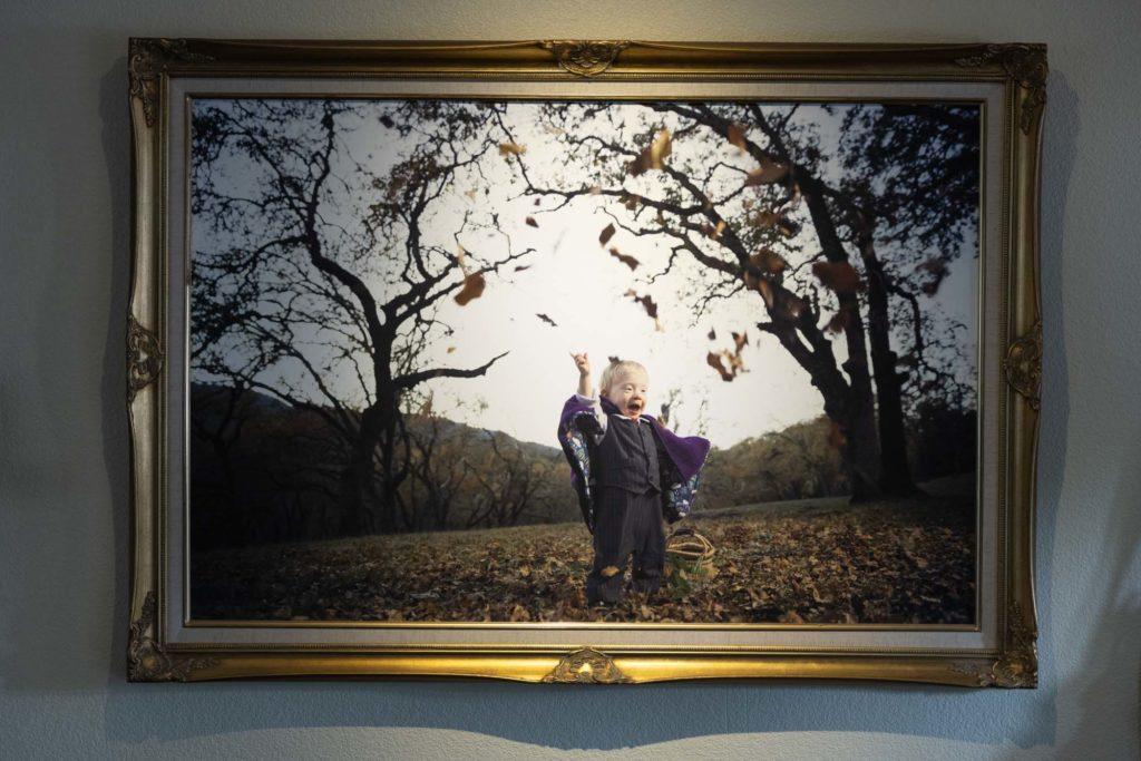 Fine Art Matte paper print in gold frame lit by Honwell light