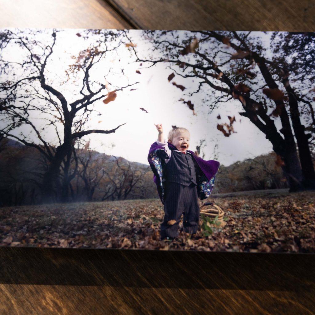 semi gloss metal print in dappled light on apple boxes