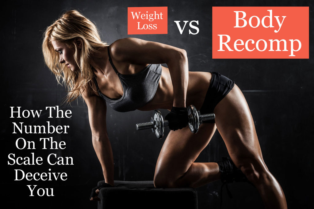 Picture of woman lifting weights to lose weight and recompose her body for her wedding