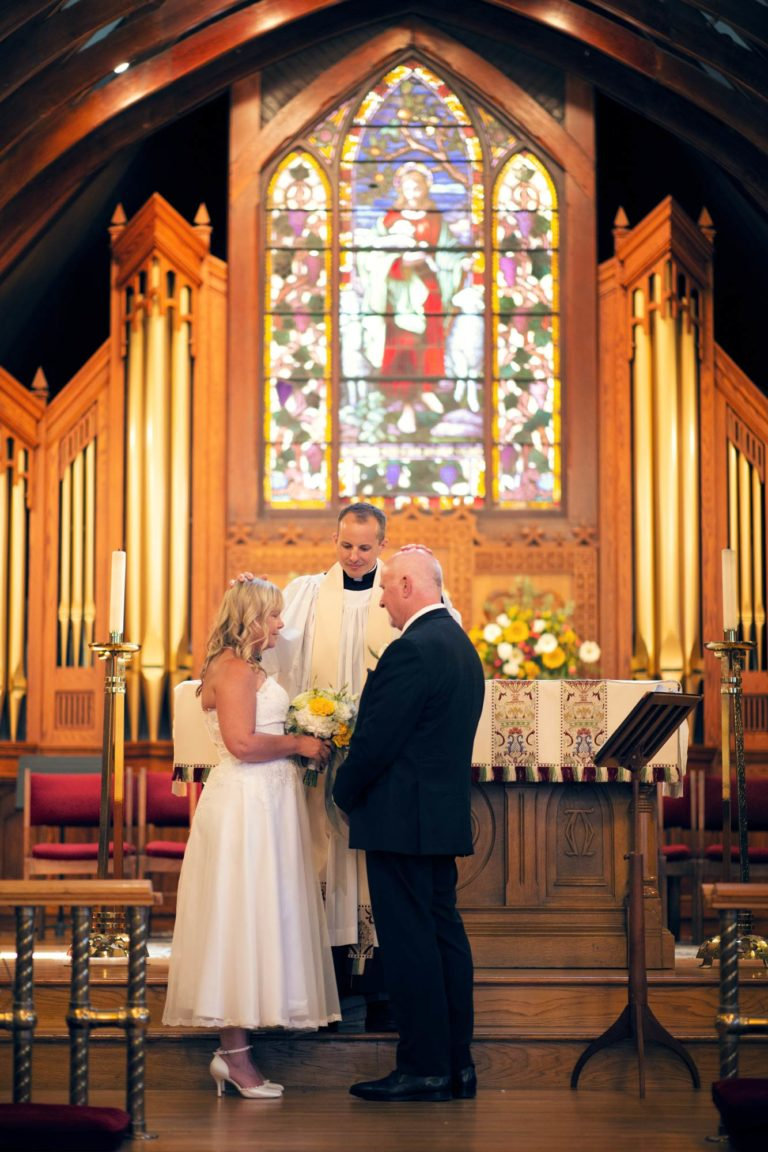 Bride and groom elope at a church
