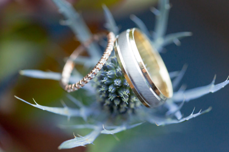 Macro shot of wedding rings on a thistle bouqet